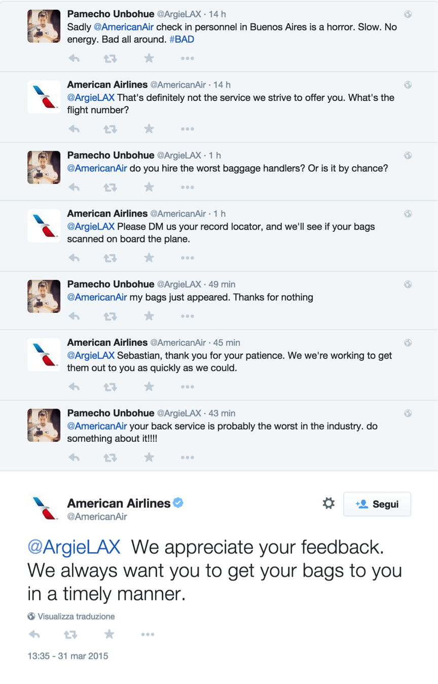 America Airlines tweet