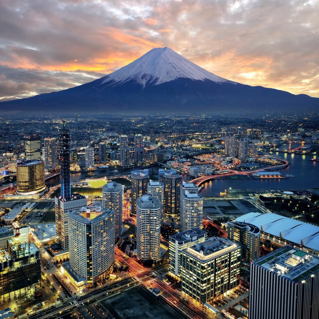 Japan startup Yokohama city and Mt. Fuji