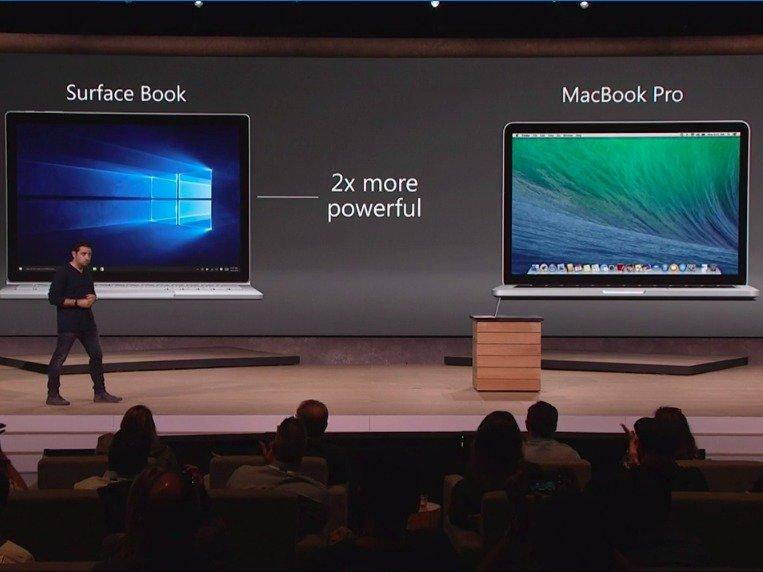 Microsoft Surface Book paragonato a MacBook Pro Apple