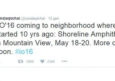 Sundar Pichai, Ceo Google, annuncia le date di Google I/O 2016