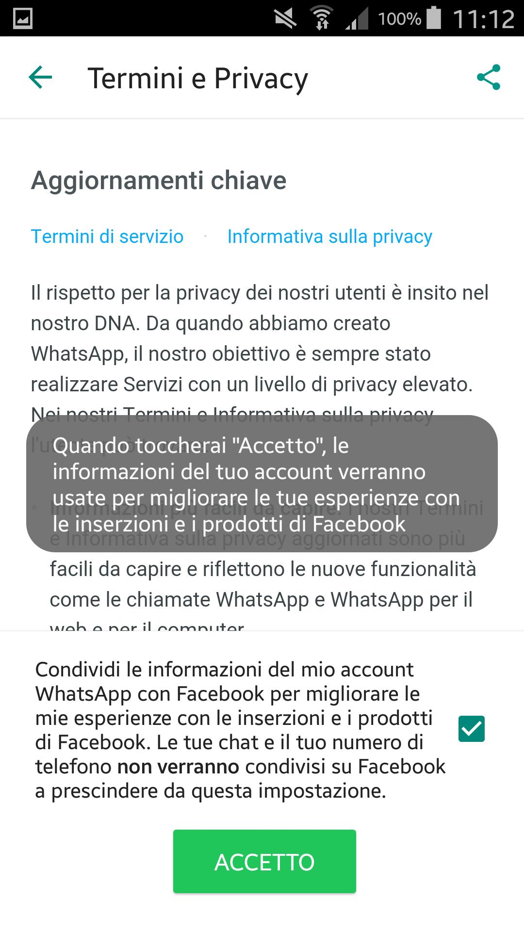 Whatsapp Facebook privacy dati 2