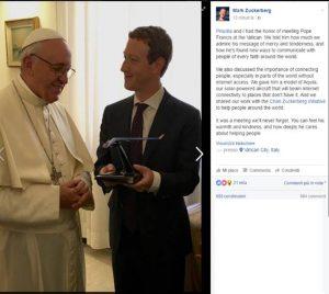 Mark Zuckerberg e il Papa