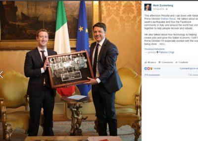 Mark Zuckerberg e Matteo Renzi