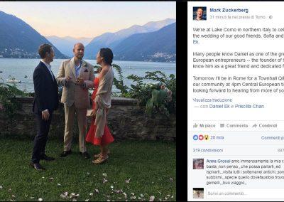 Mark Zuckerberg, Priscilla Chan e e Daniel Ek a Como