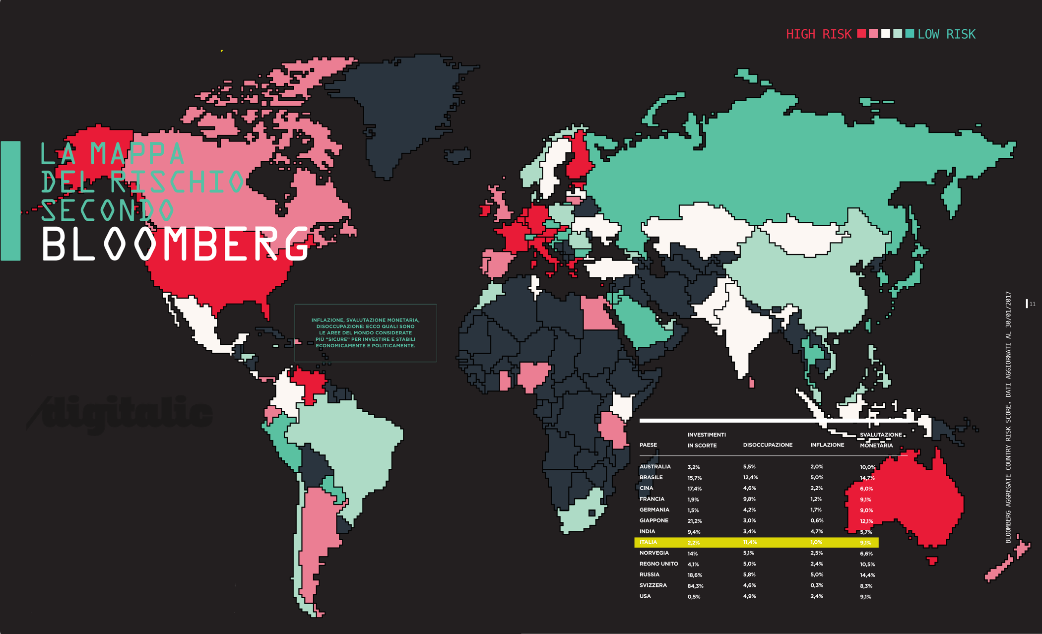 Italia in testa alle Nazioni più a rischio per l'economia, secondo Bloomberg – mappa