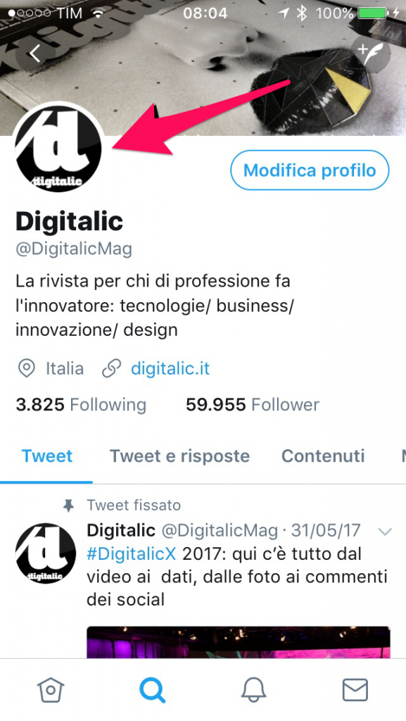 Nuovo design Twitter - foto profilo