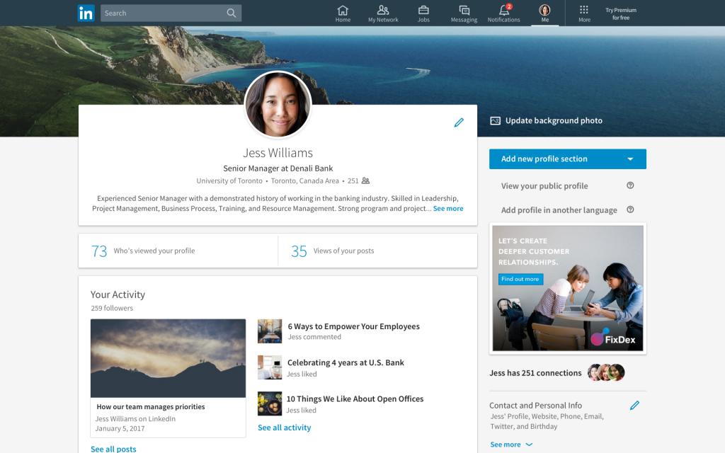 LinkedIn profilo Self