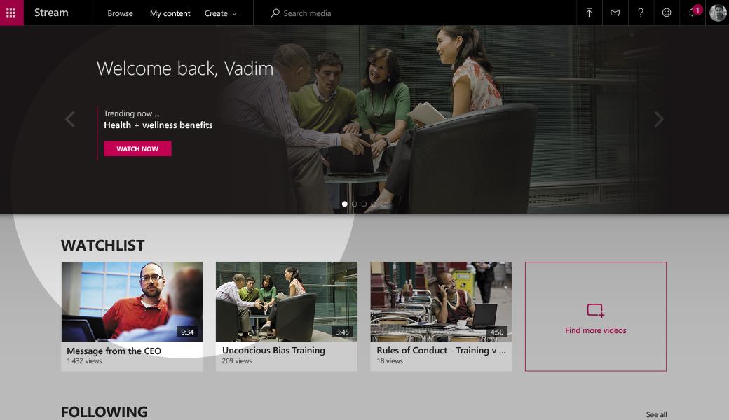 Microsoft Stream, il servizio video dedicato al business