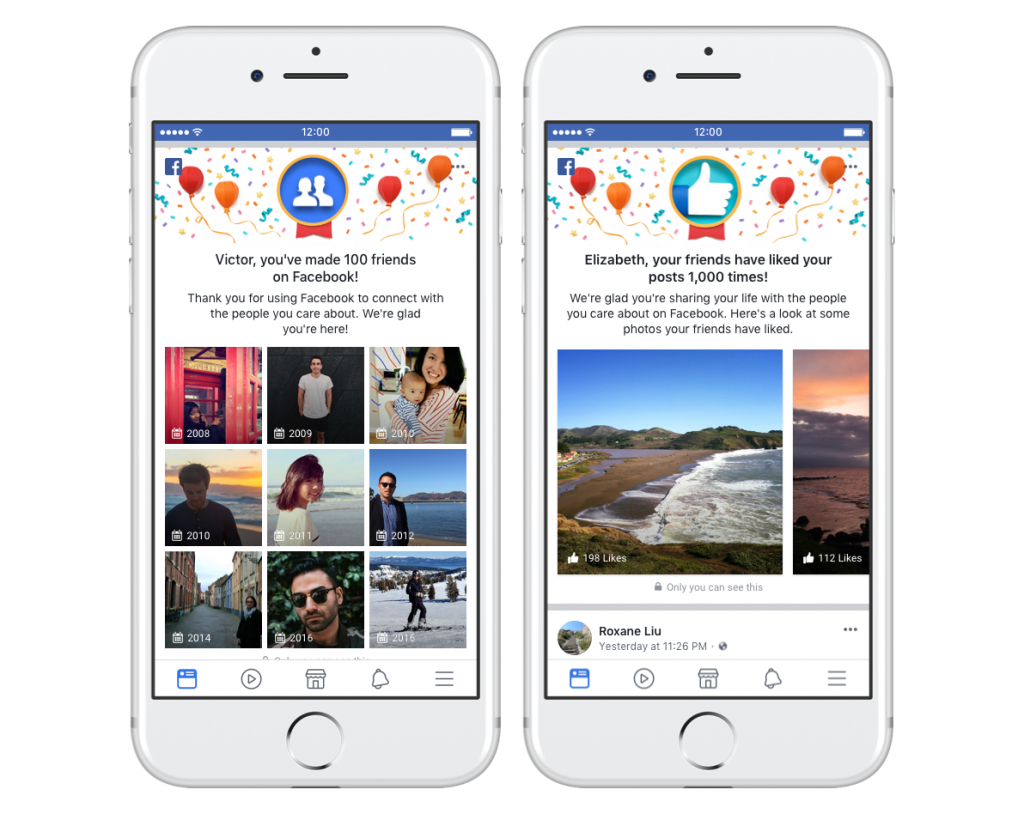 Festeggiare le amicizie condividere i ricordi Facebook