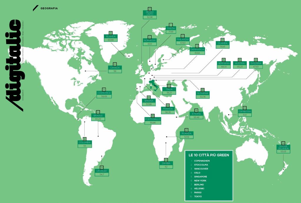 Paesi più green del mondo mappa