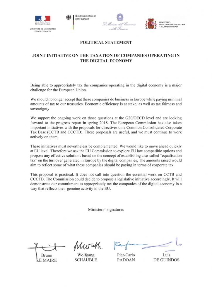 Web Tax la lettera del ministro Padoan
