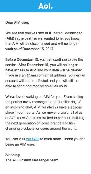 AIM Instant Messenger di AOL chiude dopo 20 anni