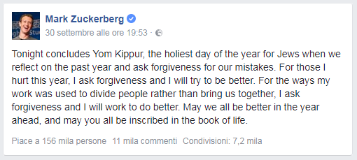 mark zuckerberg chiede scusa