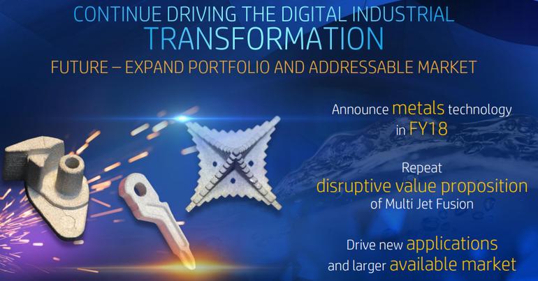 HP stampa 3D in metallo e a colori entro il 2018