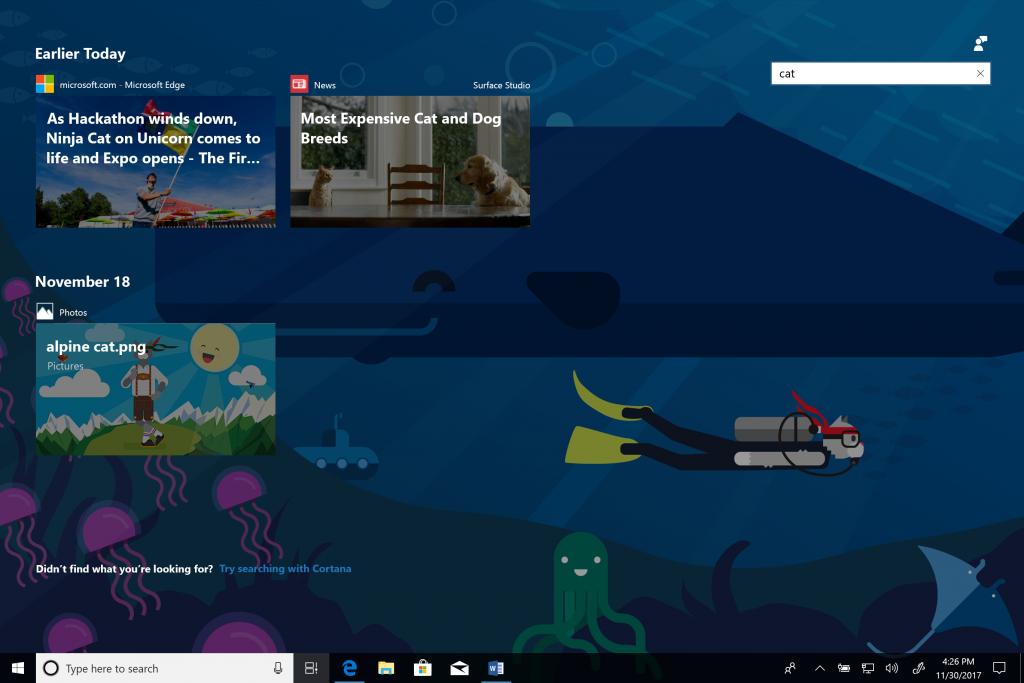 Windows 10 ora include la funzionalità Timeline