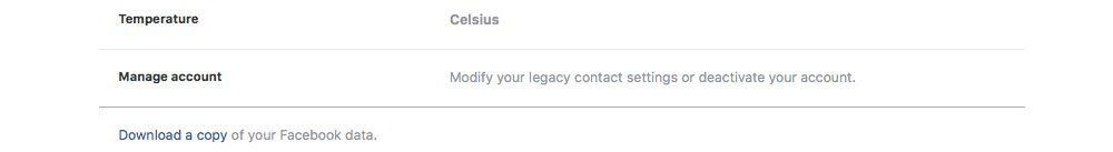 facebook scarica i tuoi dati