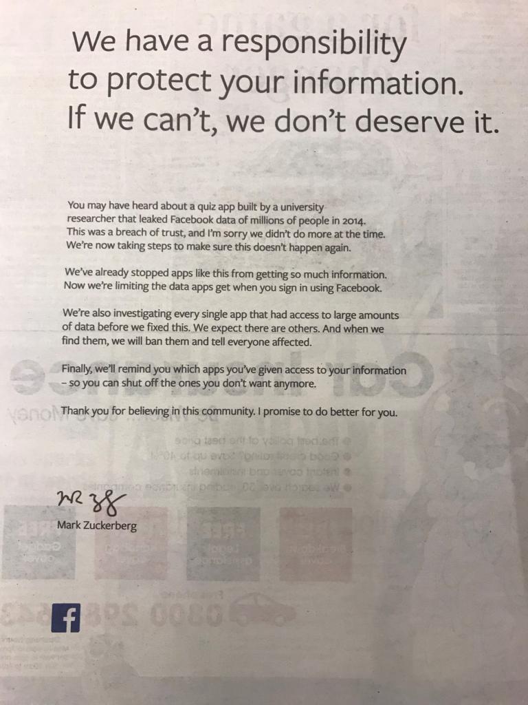 facebook scuse pubblicità Zuckerberg