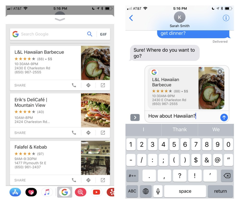 ricerca google search in imessage