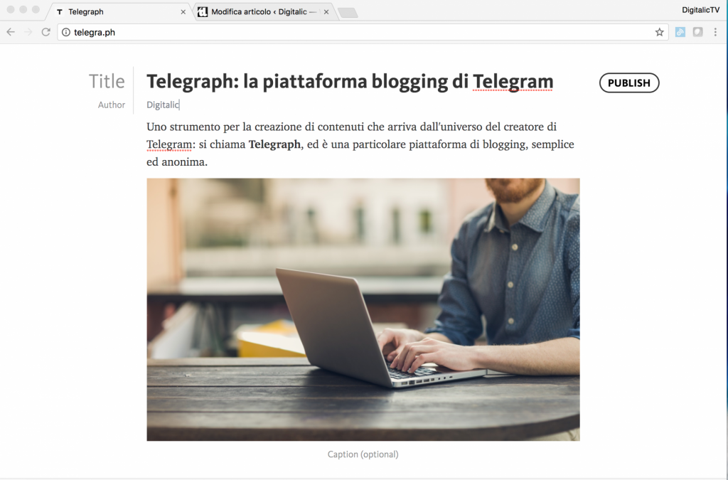 telegraph blogging telegram