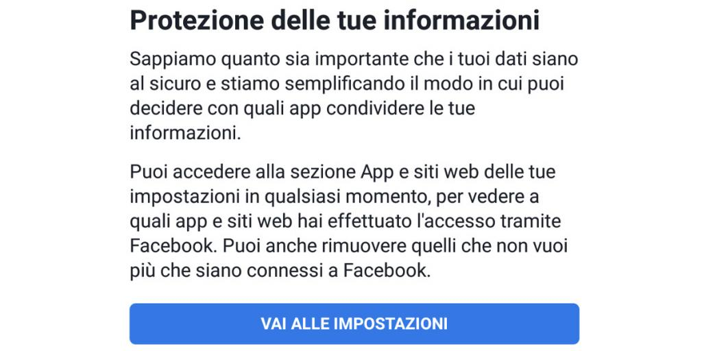 Notifica Facebook privacy