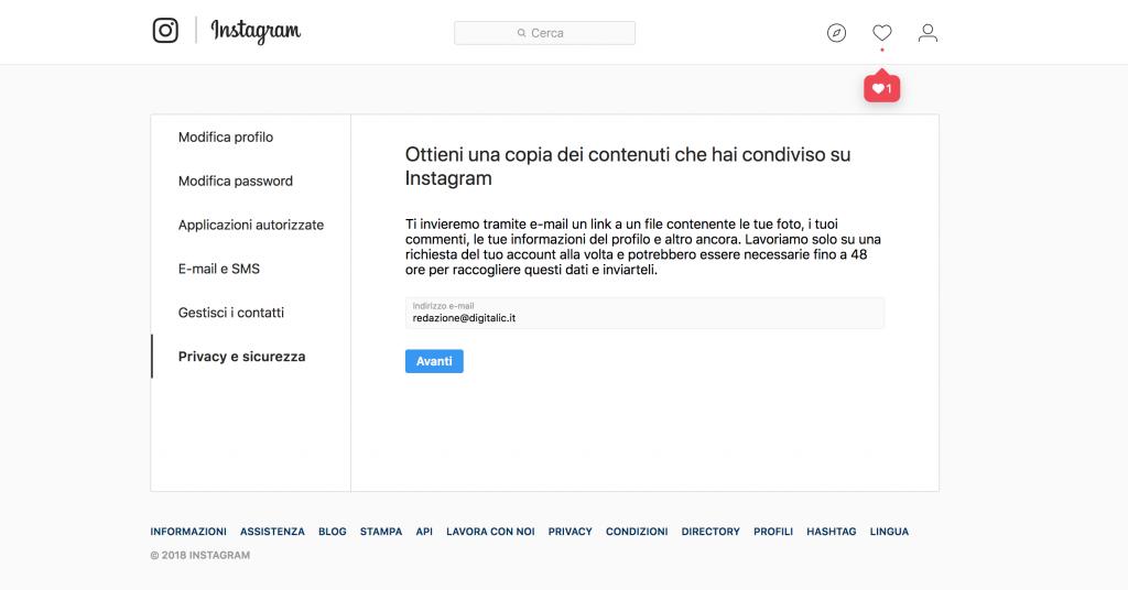 come fare il download dei dati da Instagram
