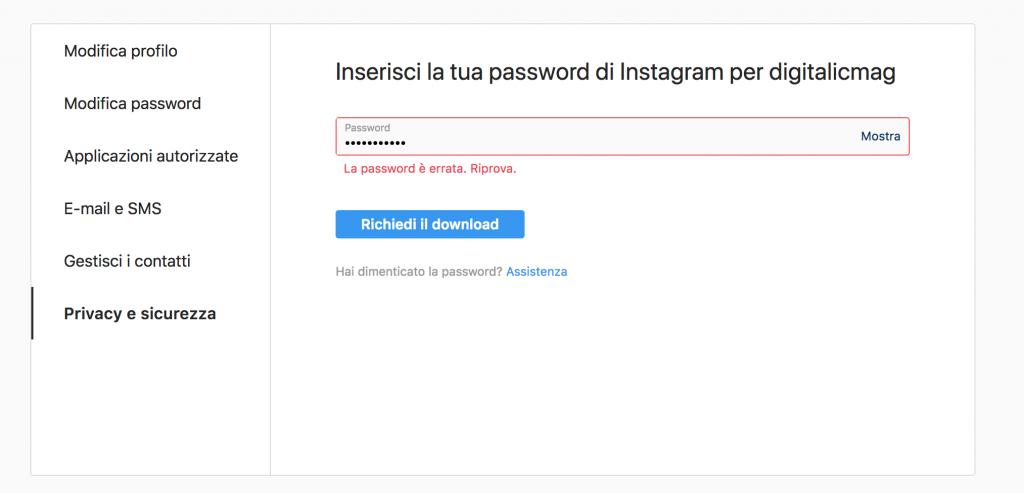 come fare il download dati da instagram