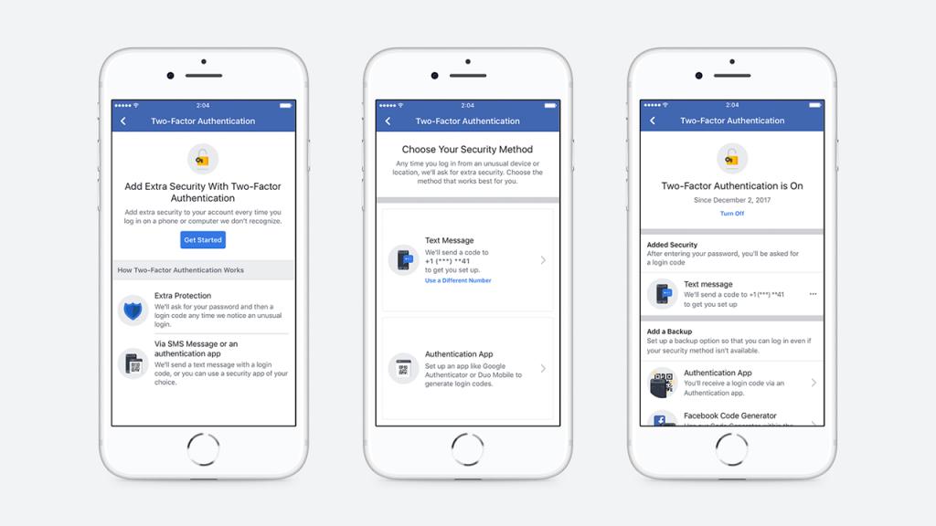 facebook autenticazione a due fattori