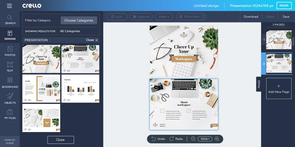 Crello design multi-pagina