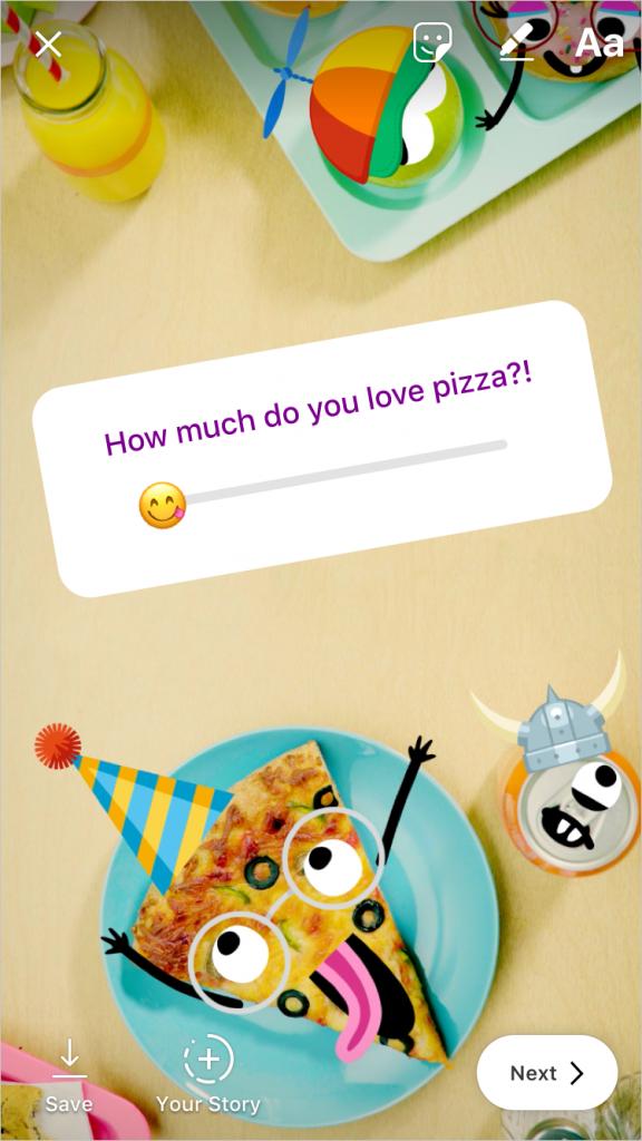 Instagram adesivi con emoji a scorrimento