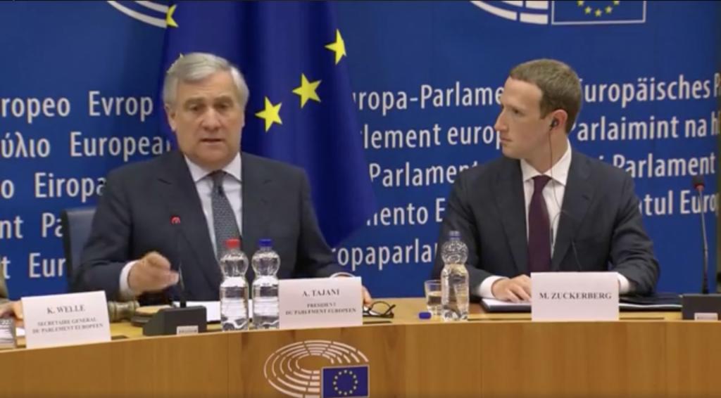 Zuckerberg al Parlamento Europeo