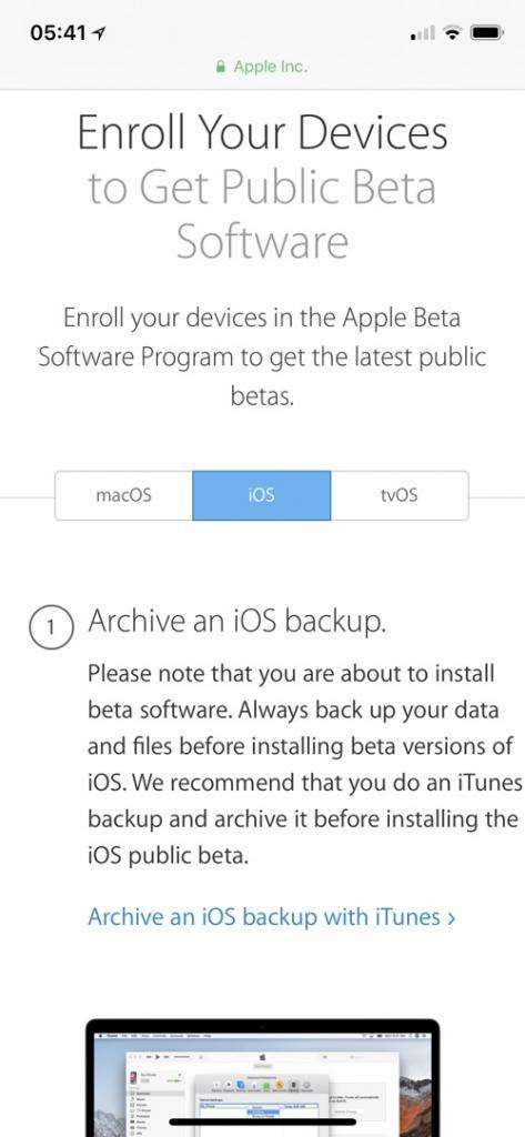 scaricare installare ios 12 beta