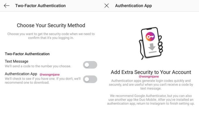 Instagram autenticazione a due fattori