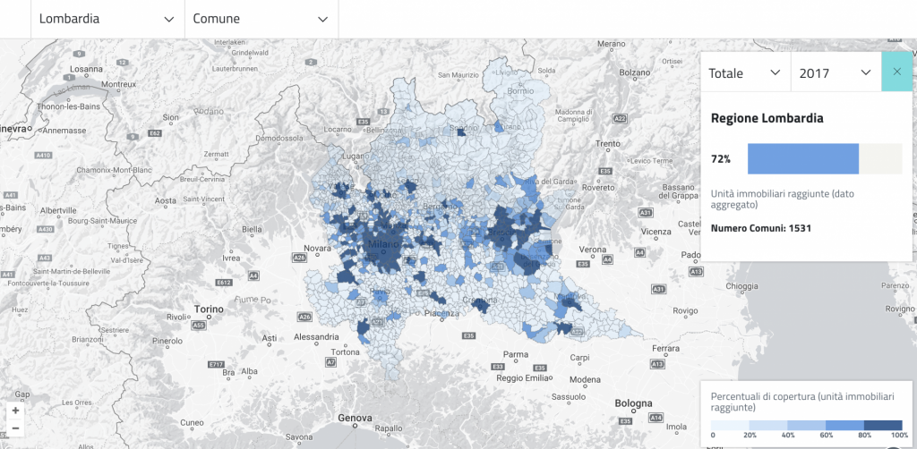 mappa copertura banda larga italia - lombardia