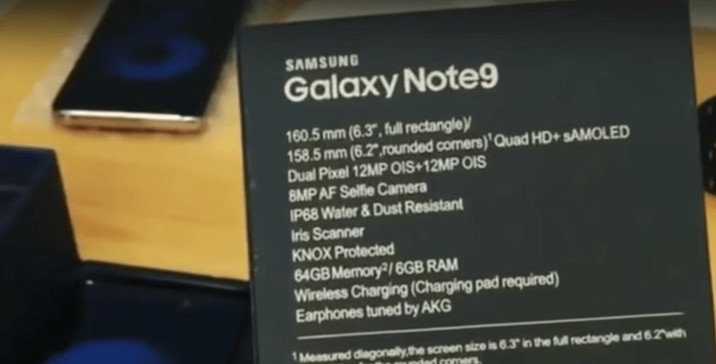 Samsung Galaxy Note 9 caratteristiche tecniche