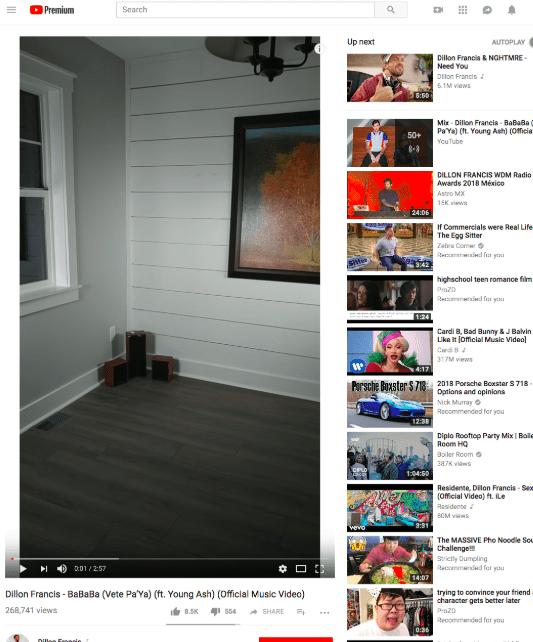 web player di YouTube