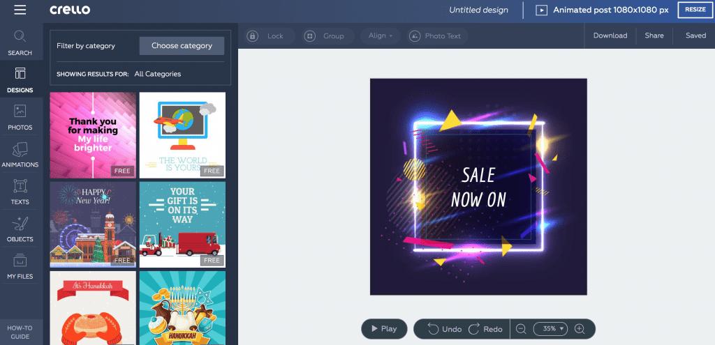 Crello progettazione grafica online