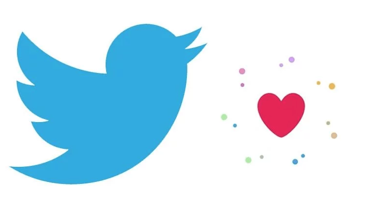 twitter pulsante a forma di cuore