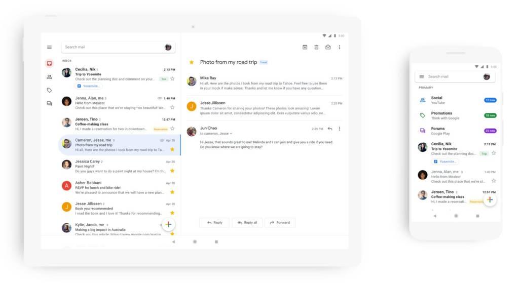 Gmail: design tutto nuovo, bianco e minimal
