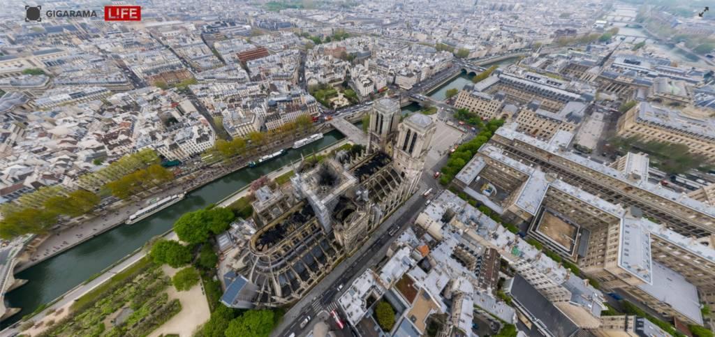 Notre Dame Drone video 360 gradi