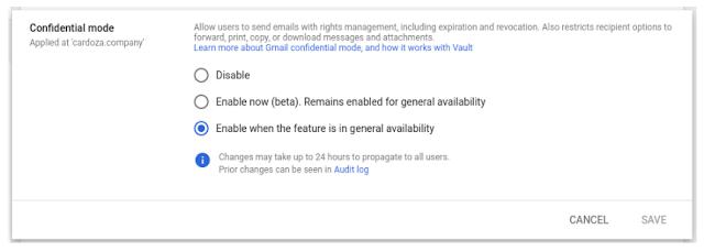 modalità riservata di gmail
