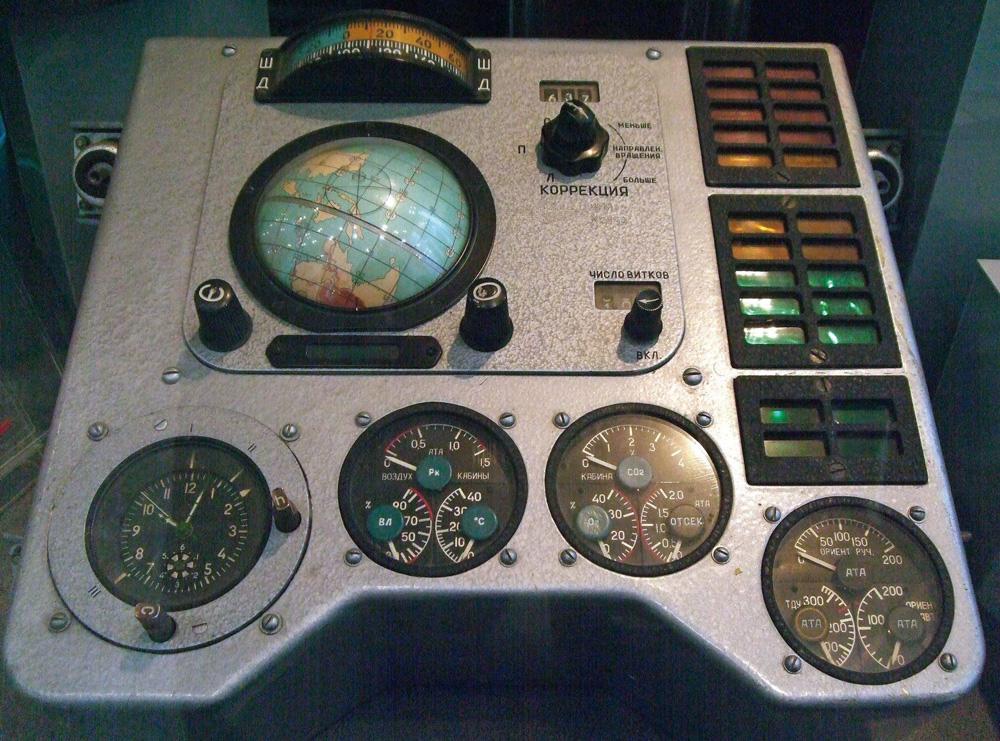 Juri Gagarin consolle di Guida Vostok 1