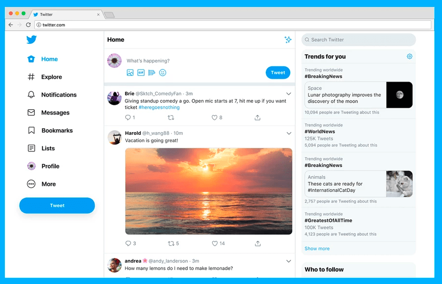 Twitter nuovo design: più semplice e più funzionalità