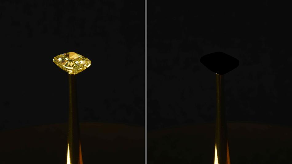 Il materiale più nero di sempre: lo svela il MIT oscurando un diamante