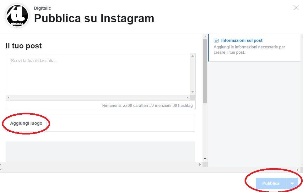 pubblicare su Instagram desktop