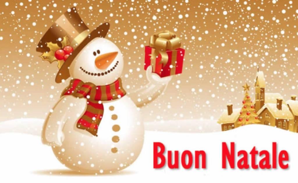 Auguri di Buon Natale pupazzo di neve