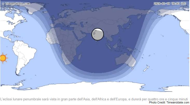 eclissi penumbrale luna