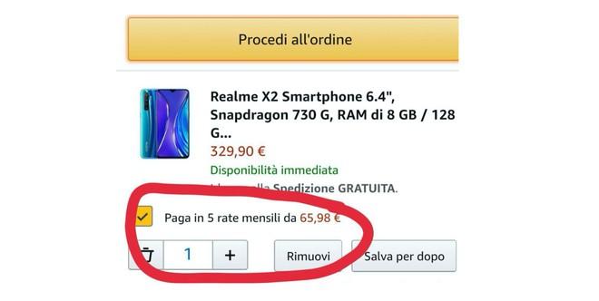 esempio pagamento a rate Amazon