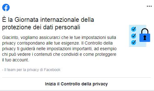 messaggio facebook data protection day