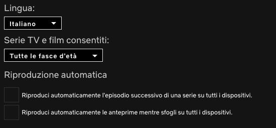 Disattivare la riproduzione automatica di un episodio o anteprima su Netflix