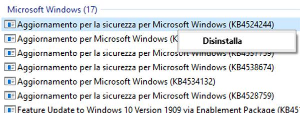 aggiornamento windows 10 da disinstallare